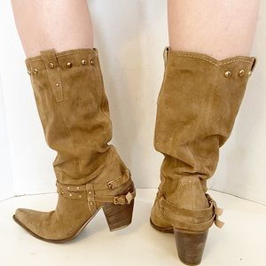 Geox western style suede cowboy boots size 39